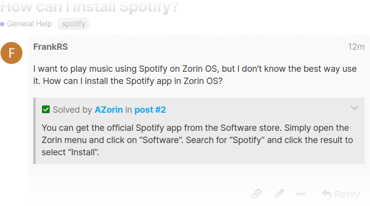 Solution on the Zorin Forum