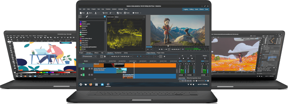 Illustration software, video editor, and 3D graphics & effects software