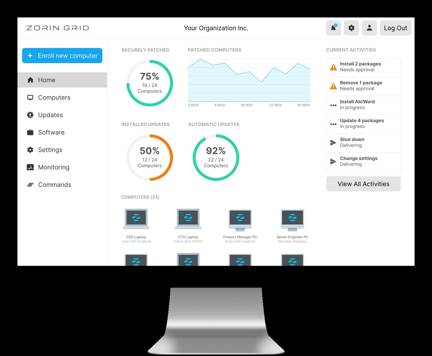 Zorin Grid dashboard