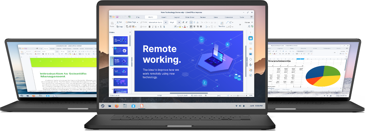 Three laptops editing office documents in Zorin OS