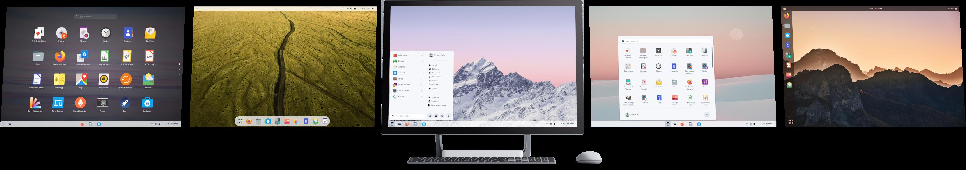 Computer displaying 5 desktop layouts
