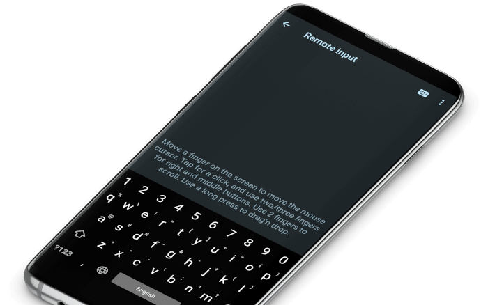 Phone displaying the mouse and keyboard control screen in Zorin Connect