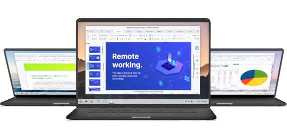 Laptops running Office software